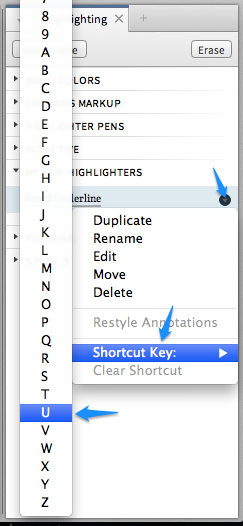 Assign a Shortcut Key to a Highlighter